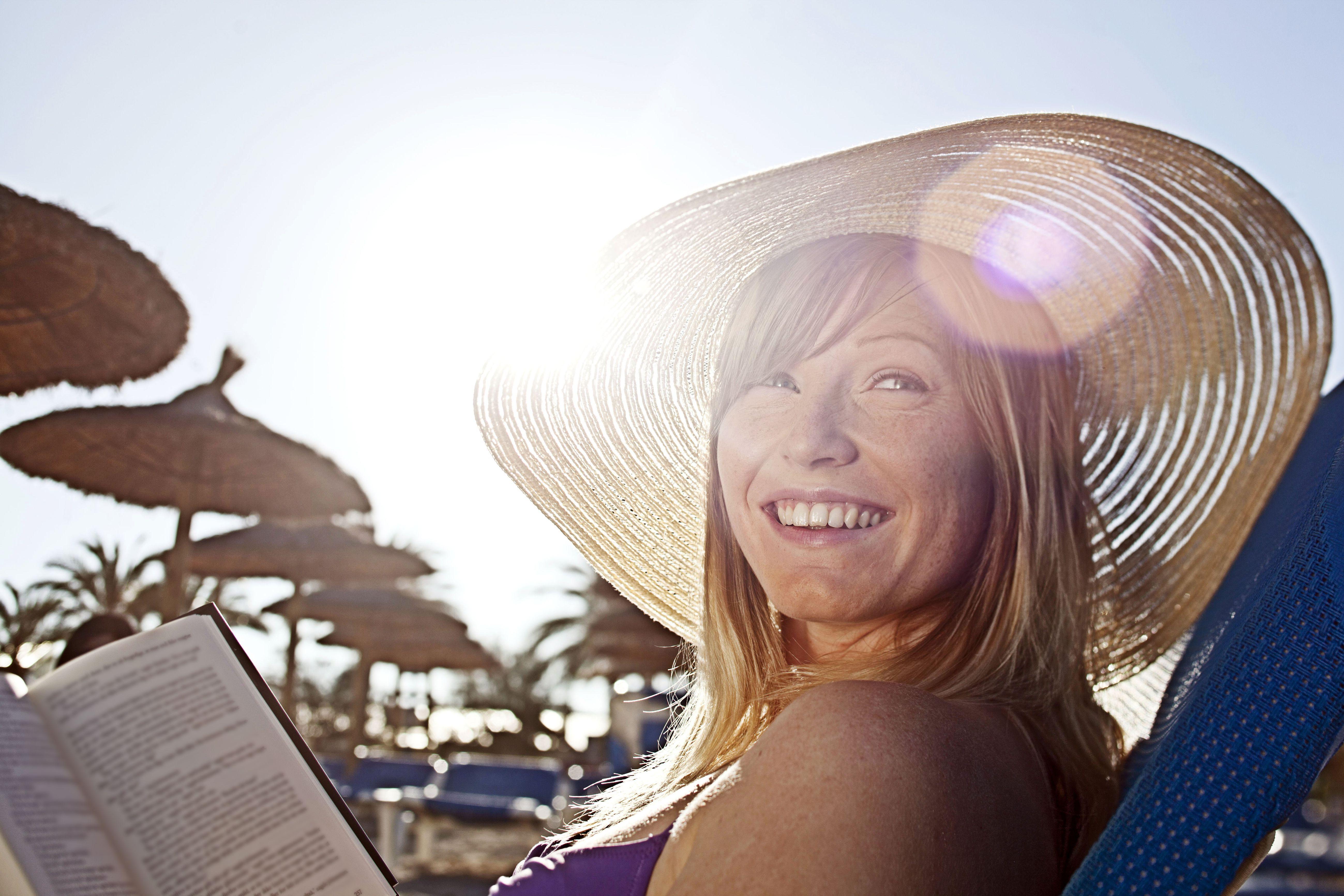 Woman sunning herself