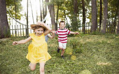 Kids running in garden