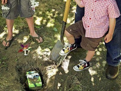 people burying a pet