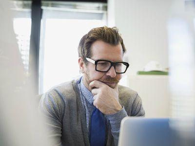 Man researching online