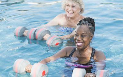 Older Black Woman in Water Aerobics