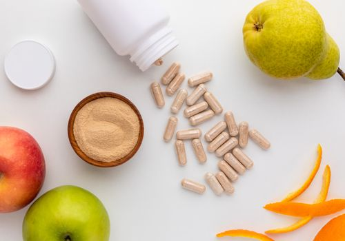 Apple pectin powder, capsules, pear, apple, and citrus peel