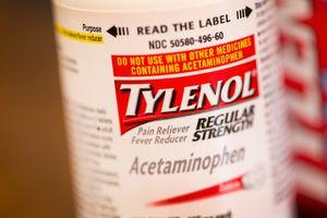 Bottle of name brand acetaminophen