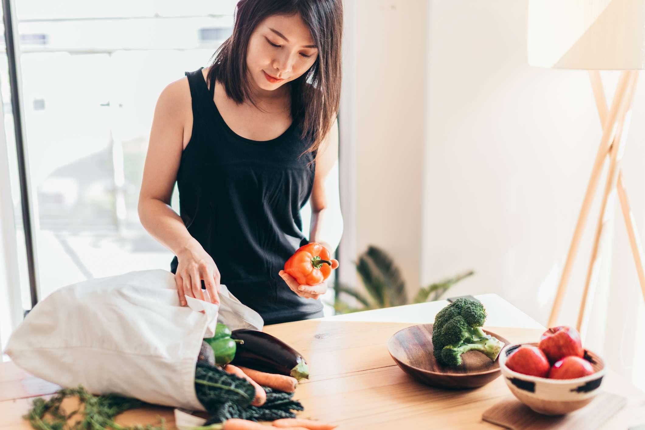 Woman preparing healthy food.