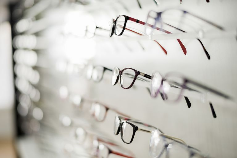 glasses frames on a rack