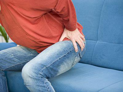 Hip bursitis causes pain over the outside of the hip.