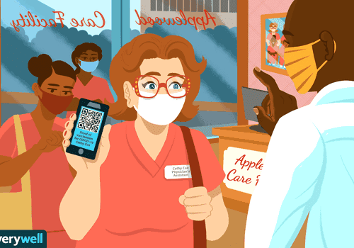 illustration of healthcare staff showing vaccine card on phone
