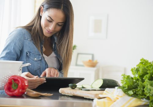 Woman cooking healthy food