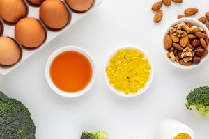 Tocopheryl Acetate oil, soft gel, eggs, broccoli, and nuts