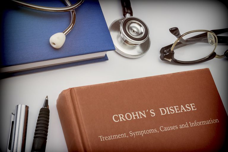 Titled book Crohn's Disease along with medical equipment, conceptual image