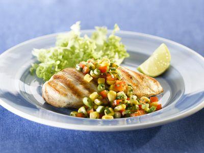 Grilled chicken breast with corn salsa