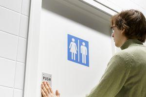 Person entering restroom