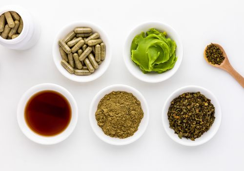 Chaparral capsules, salve, tincture, powder, and dried herb
