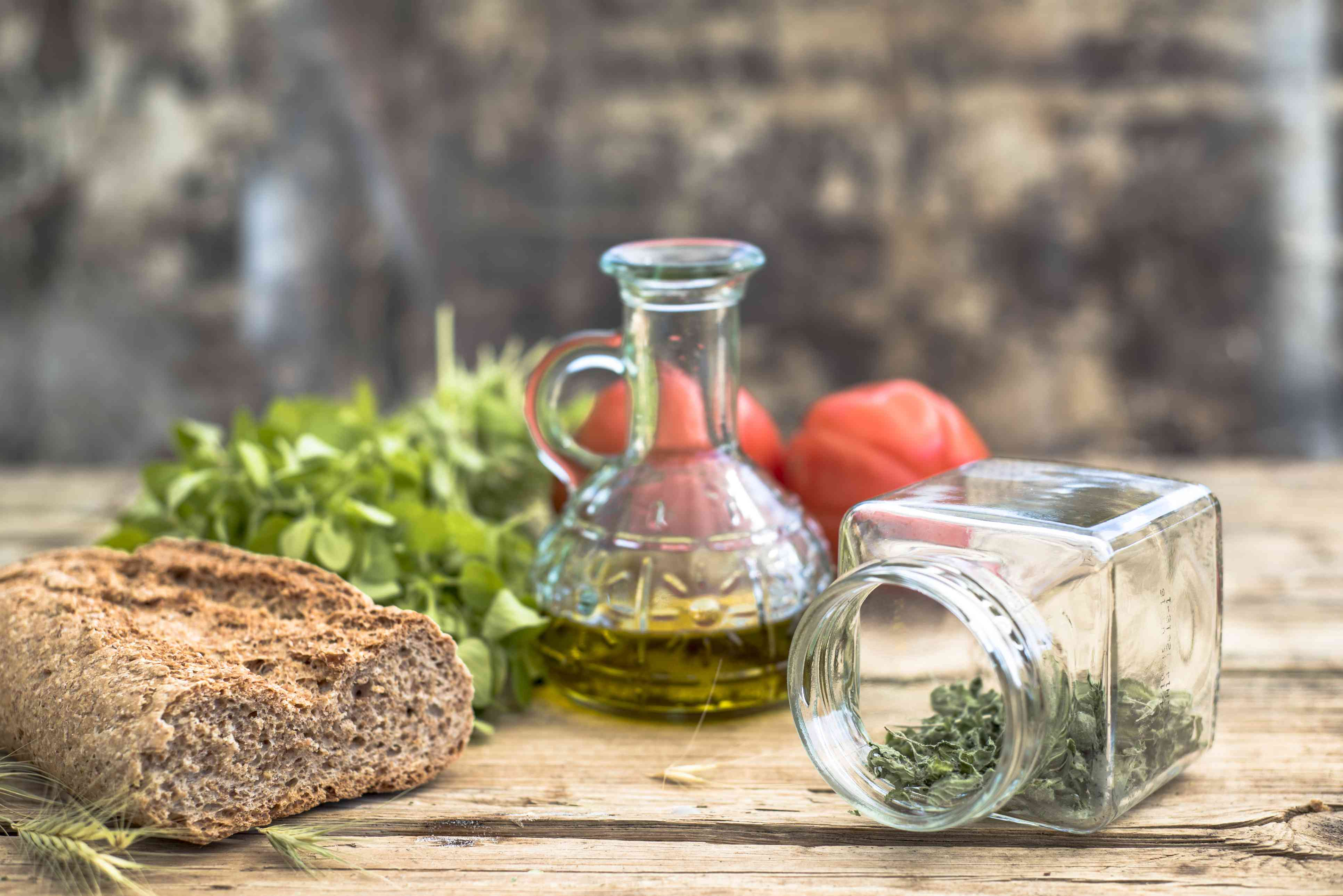 Olive oil, bread, herbs - components of the Mediterranean diet