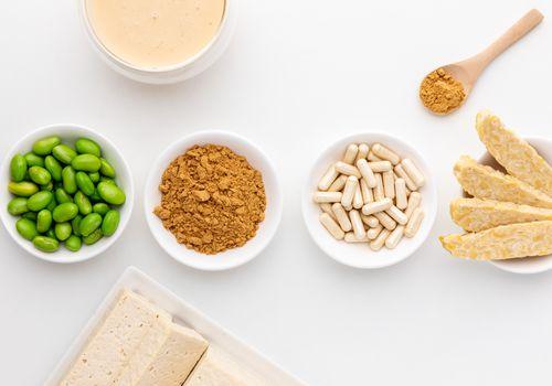 Isoflavone powder, edamame, tofu, capsules, tempeh, soymilk