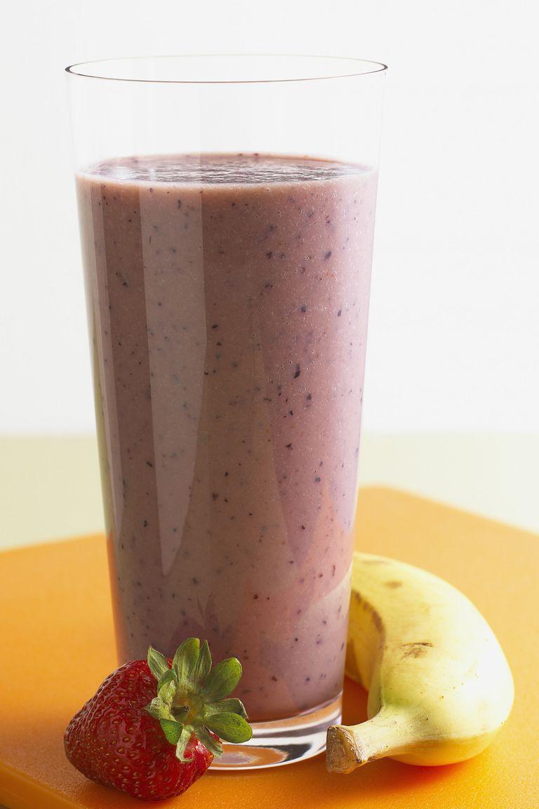 A strawberry-banana smoothie.