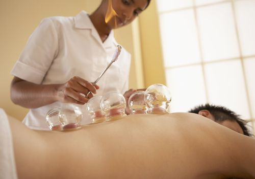 Man at cupping therapy session