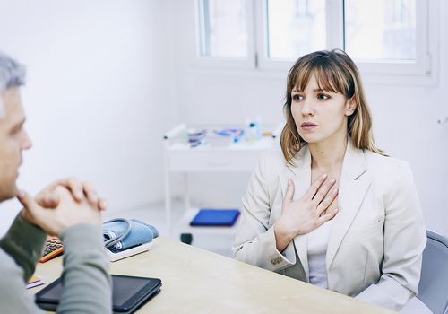 Patient consulting Doctor for breathing difficulties, Asthma