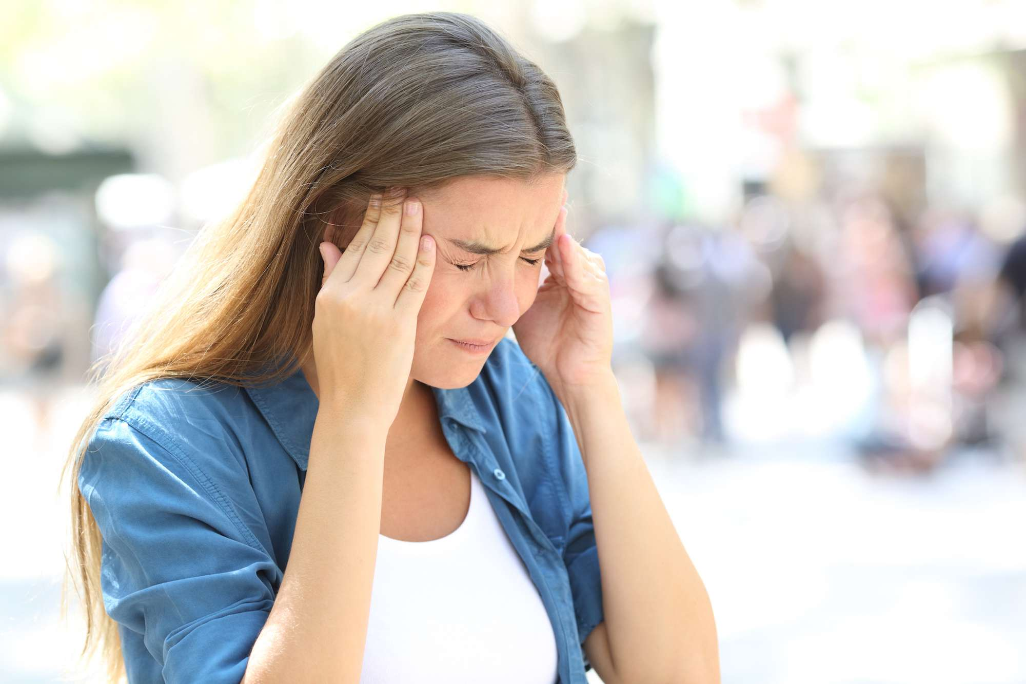 Woman with tremendous headache