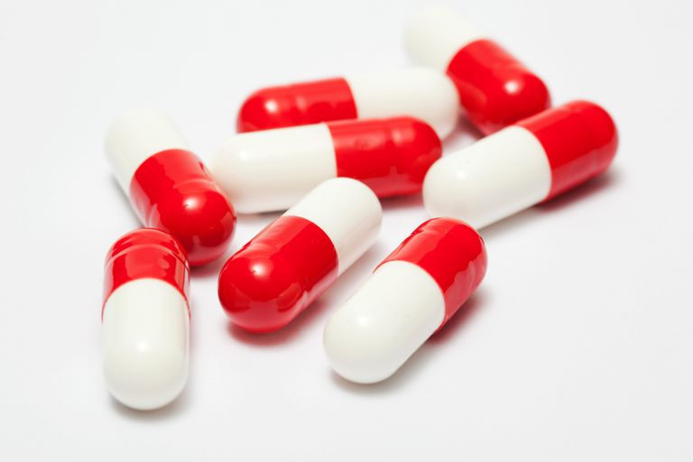 Red and white capsules