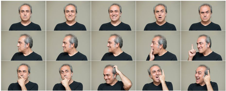 Man making different facial expressions