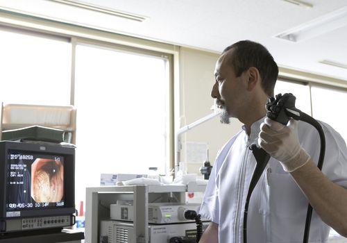 Technician performing Endoscopic exam