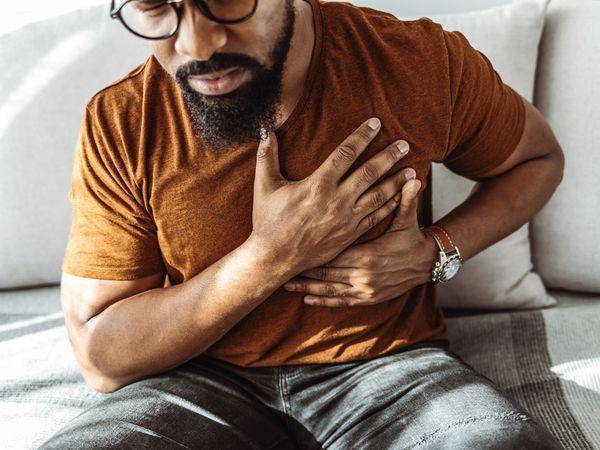 a man having trouble breathing