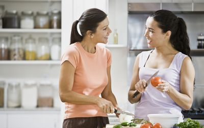 two Latina women in the kitchen
