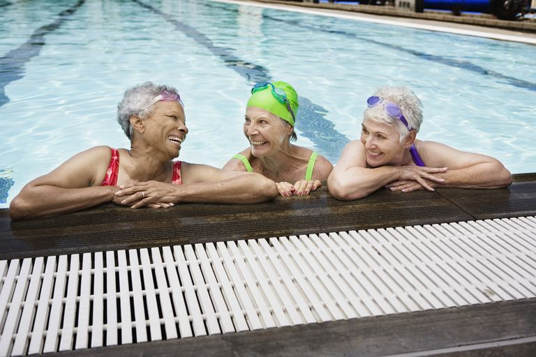 Smiling senior women in pool