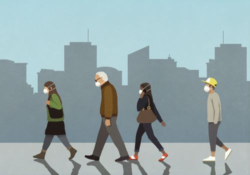 Pedestrians in flu masks walking in city - stock illustration.