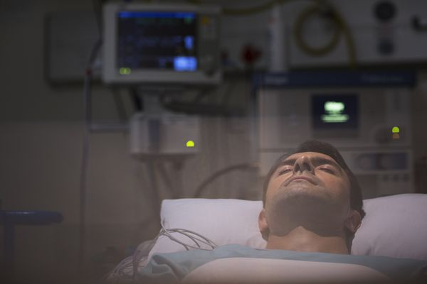 man in coma in hospital