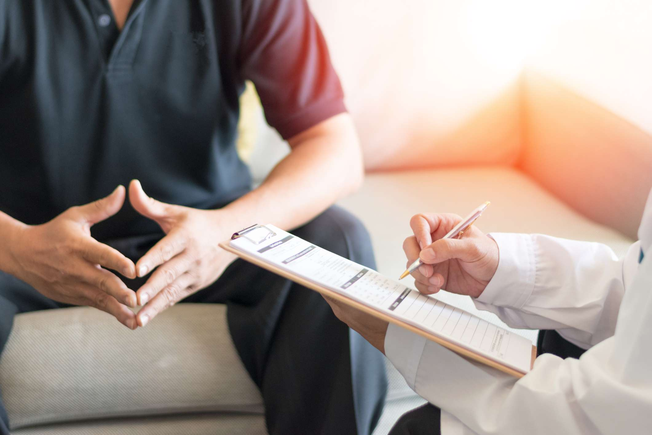 doctor taking patient information