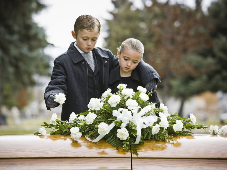 Use In lieu of flowers wording if you do not want flowers. Boy and girl at a funeral standing next to a coffin