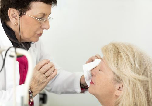 Patient at eye doctor