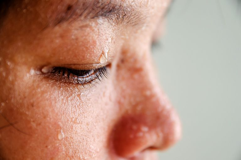 Close up of sweat on a woman's face