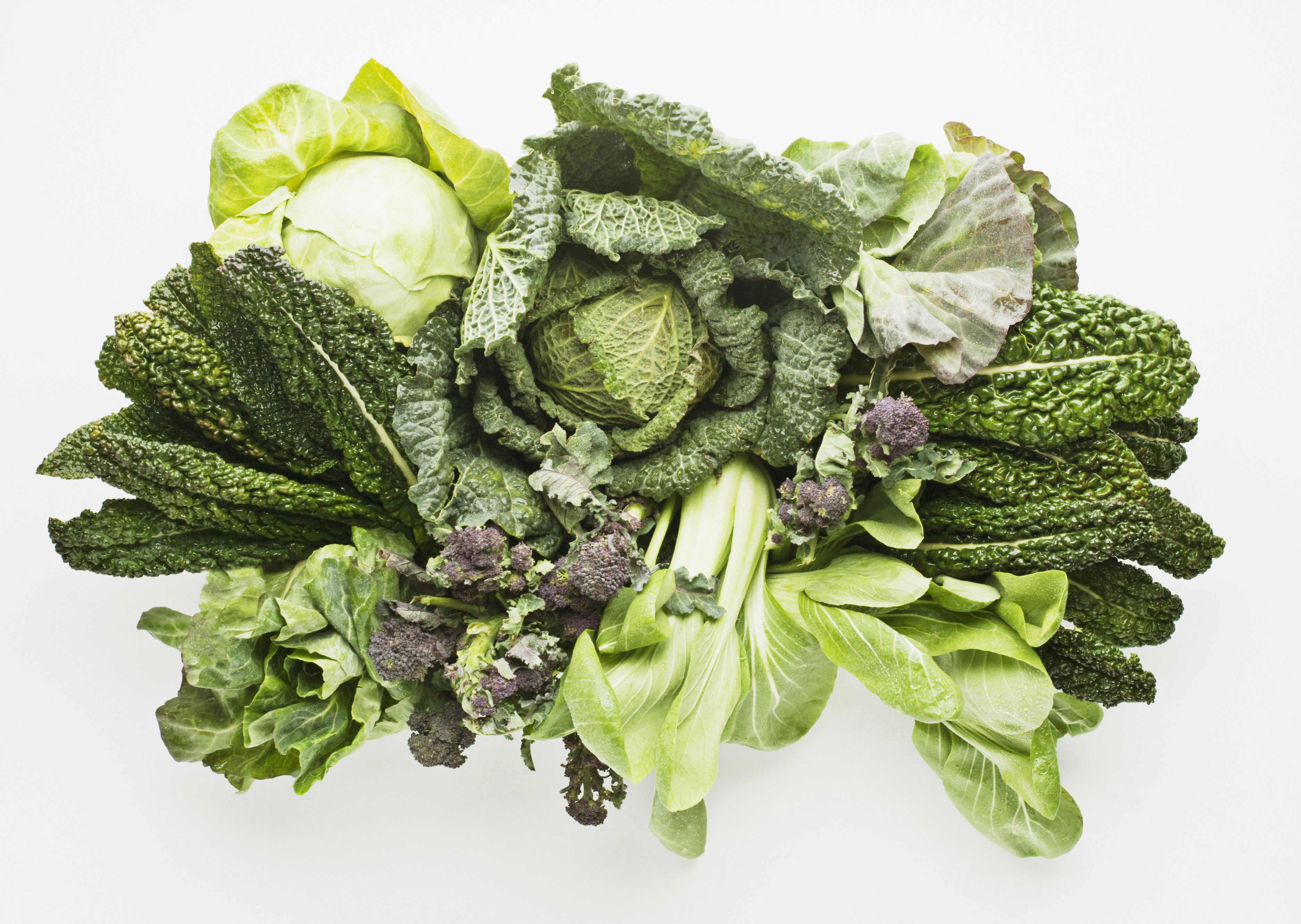 Green leafy vegetables on a table