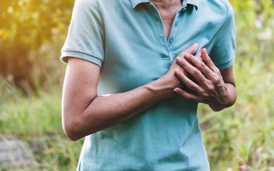 Woman with heart palpitations