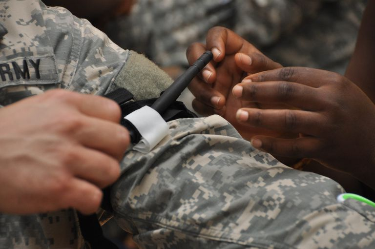tourniquet applied to soldier