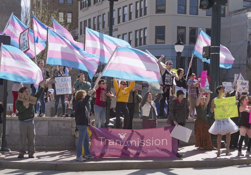 People holding Trans flags and signs at the North Carolina Transgender Rally