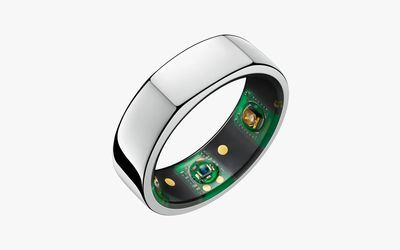 Oura ring on a white background.