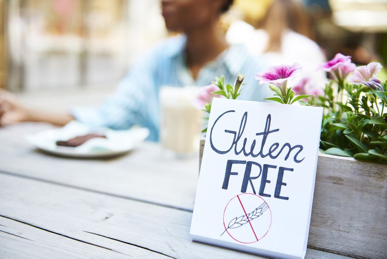 Gluten free sign at an outdoor cafe