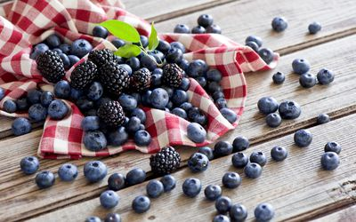 Berries on a picnic table