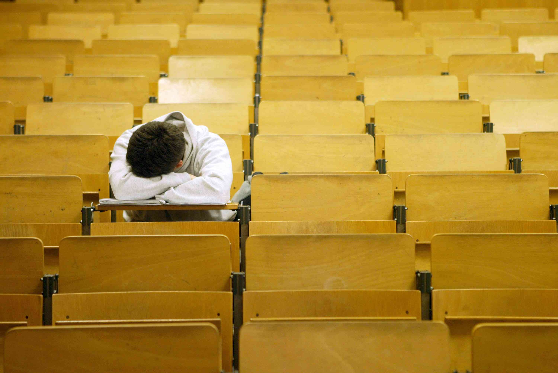 University student dozes after class