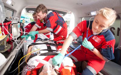 EMTs working on a patient