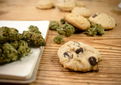 Cookies and marijuana on a table
