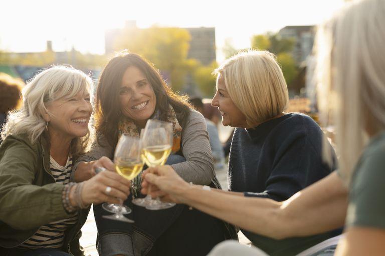 A group of women friends drinking wine