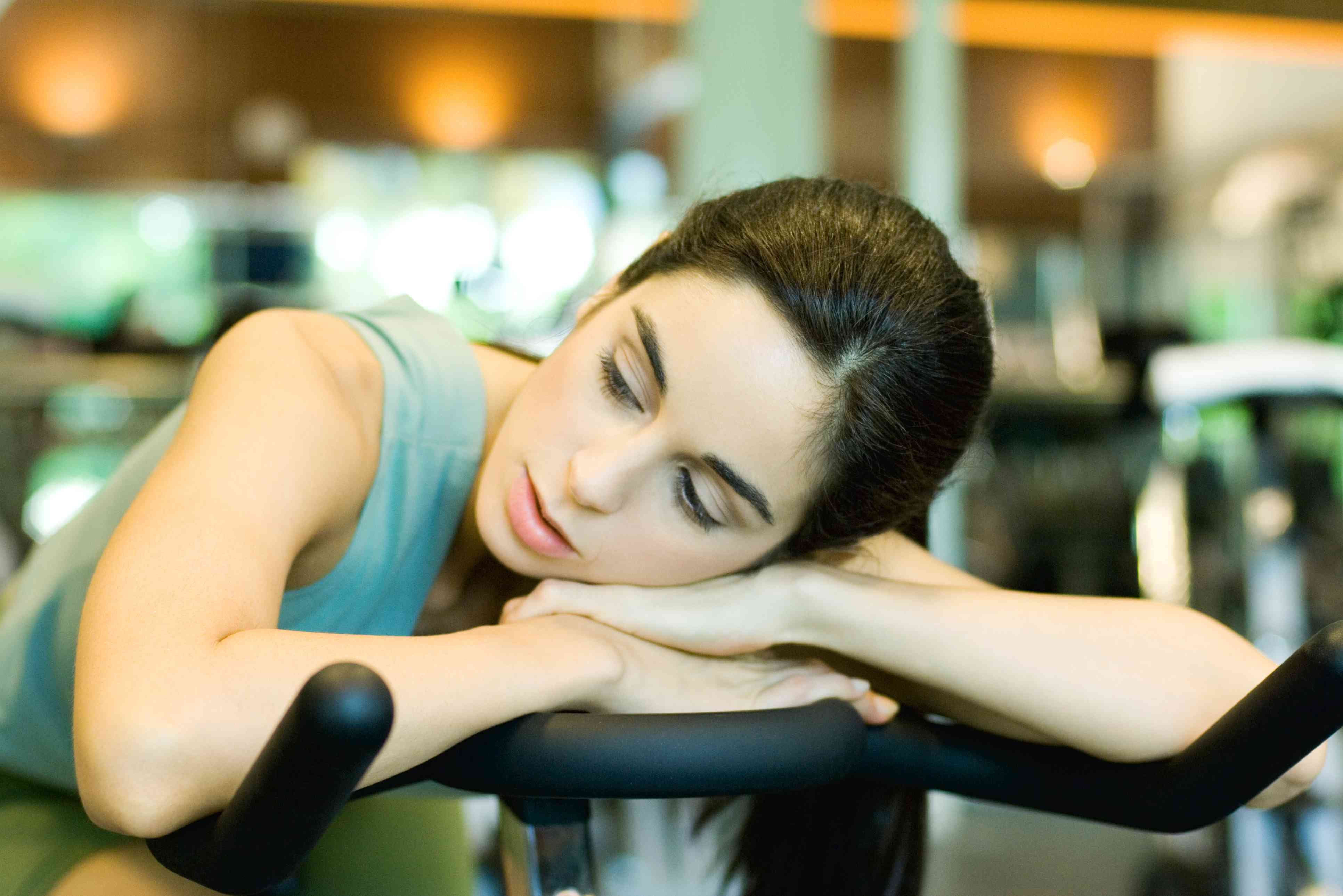 Woman tired at the gym