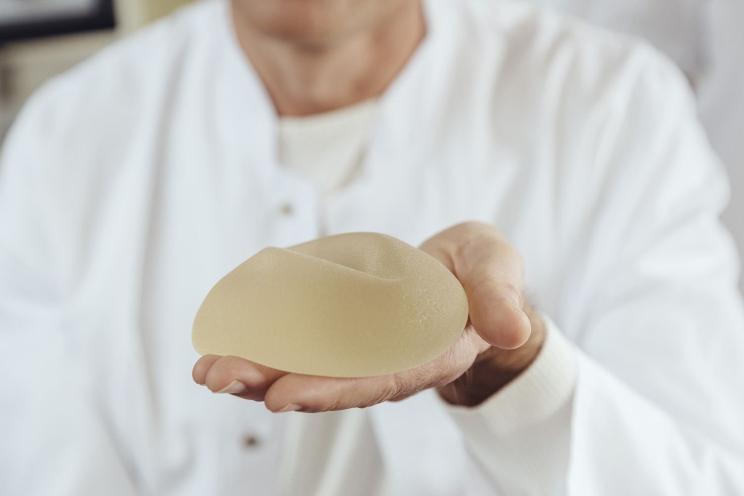 A silicone breast implants
