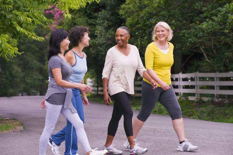 Older women walking outdoors