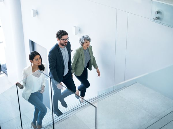 Employees take the stairs for health